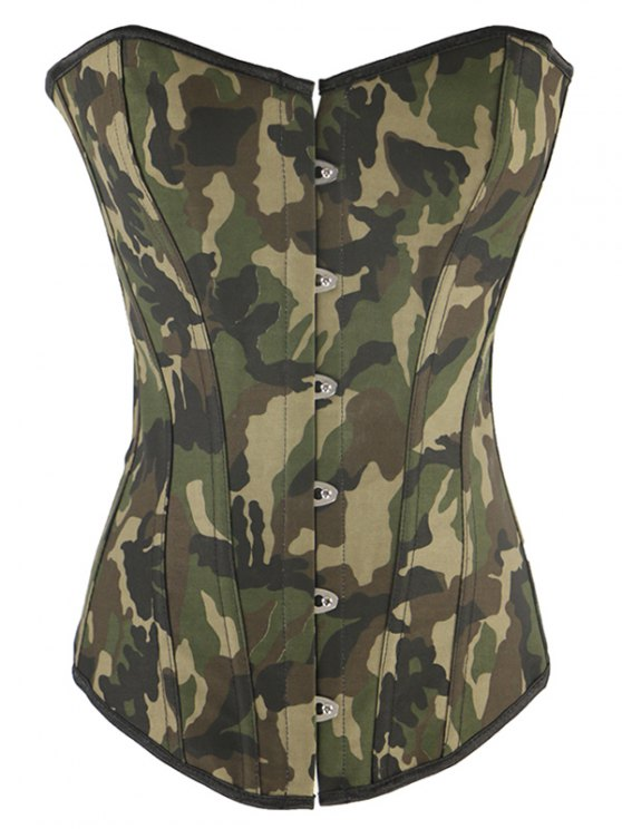 Steel Boned Camo Lace Up Corset - Camouflage 2XL