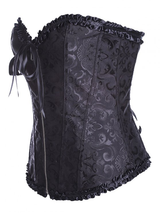 Retro Zipped Lace Up Corset - BLACK 6XL Mobile