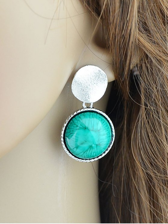 Circle Faux Gem Sequin Earrings - SILVER  Mobile