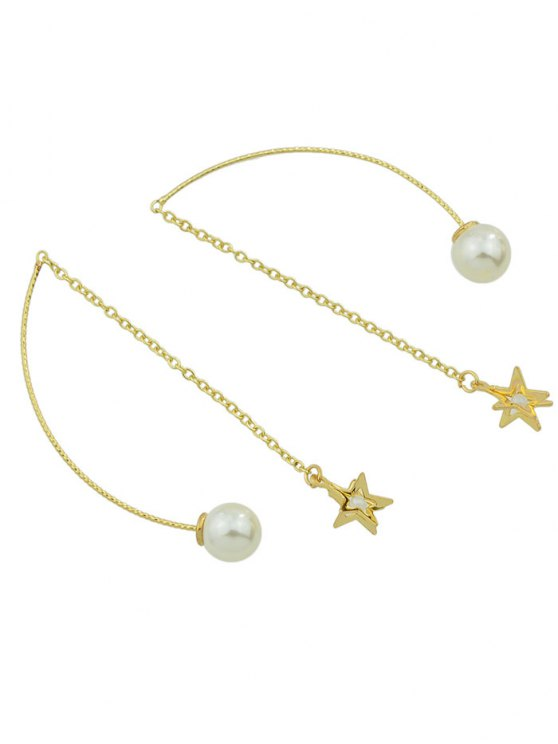 ladies Artificial Pearl Star Chain Earrings - GOLDEN