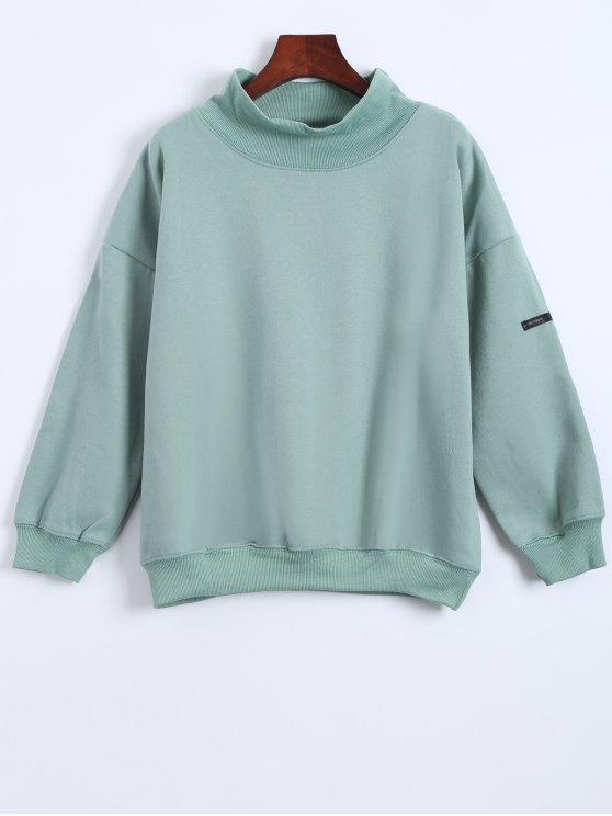 sale Patch Turtle Neck Sweatshirt - LIGHT GREEN ONE SIZE
