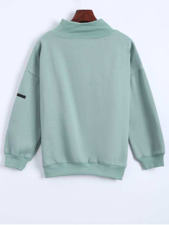 Patch Turtle Neck Sweatshirt - LIGHT GREEN ONE SIZE Mobile