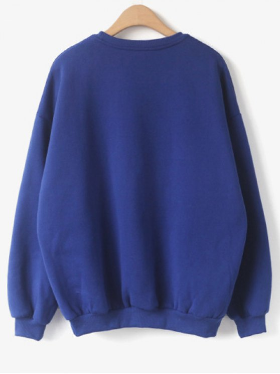 Blossom Awesome Patch Crew Neck Sweatshirt - BLUE ONE SIZE Mobile