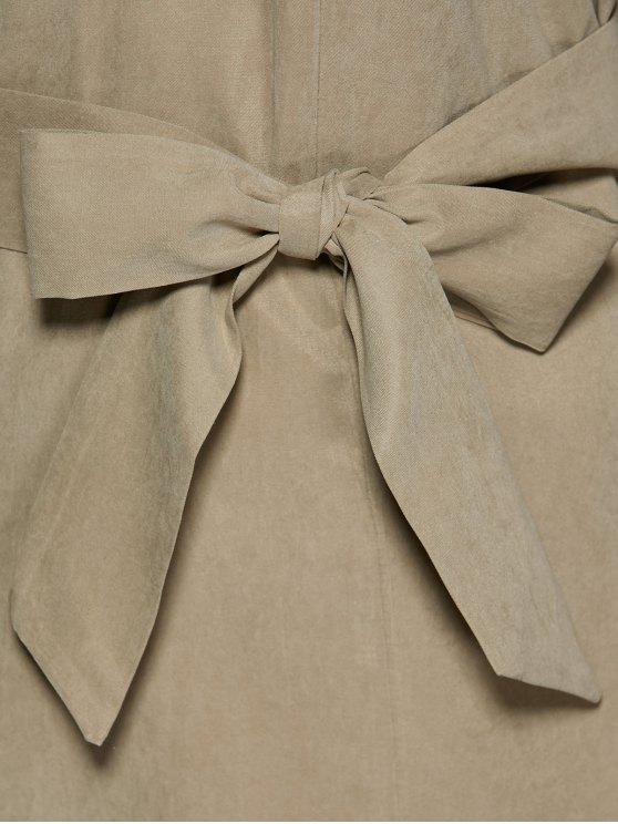 Self Tie Shirt Dress - KHAKI XL Mobile
