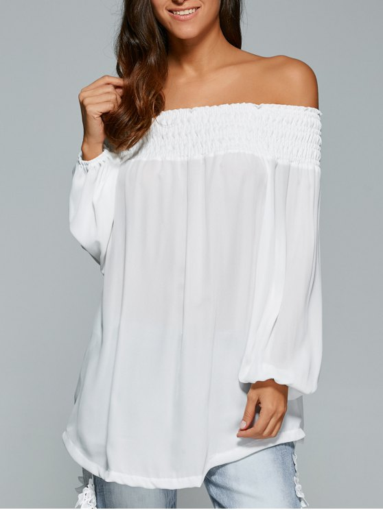 new Loose Off The Shoulder Asymmetric Blouse - WHITE S