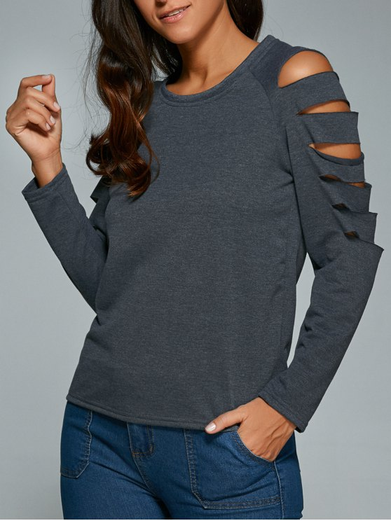 buy Cut Out Fitting T-Shirt - GRAY L