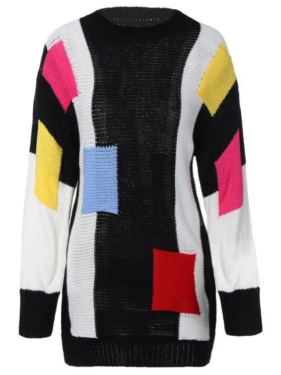 online Color Block Longline Sweater - BLACK ONE SIZE