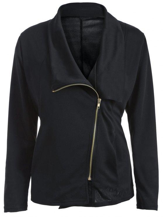 fashion Folded Zippered Asymmetric Jacket - BLACK XL