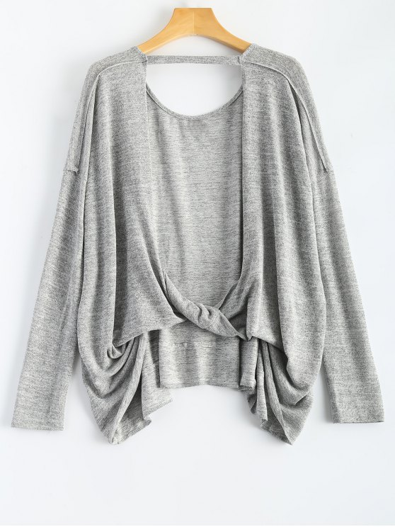Volver manga del recorte camiseta larga - Gris XL