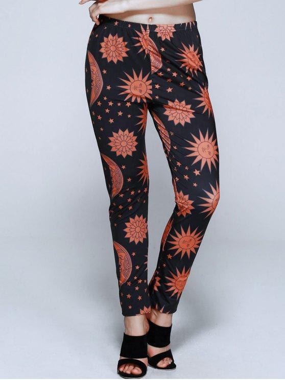 Sun Print Skinny Leggings - COLORMIX S Mobile