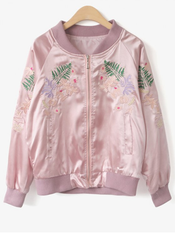 Stand Collar Floral Embroidered Jacket - PINK ONE SIZE Mobile