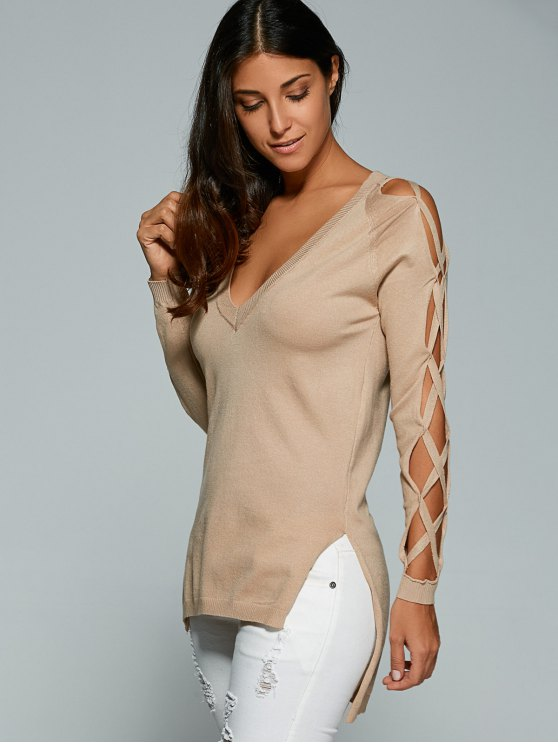 Cutout Sleeve Sweater - NUDE ONE SIZE Mobile