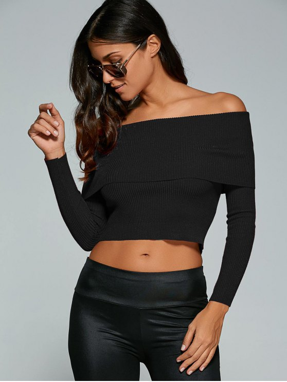 Foldover Off Shoulder Jumper - BLACK S Mobile