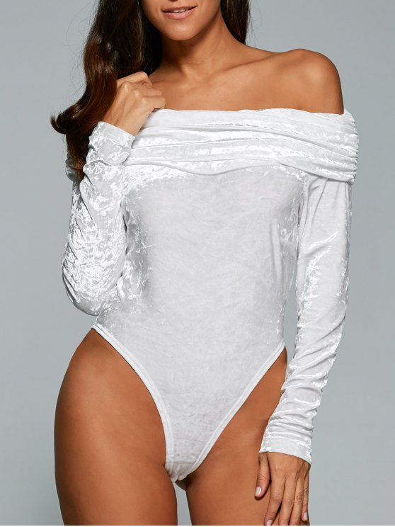 trendy Off The Shoulder Velvet Bodysuit - WHITE M