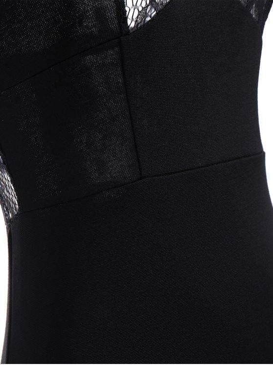 Cami Lace Spliced Bodycon Dress - BLACK 2XL Mobile