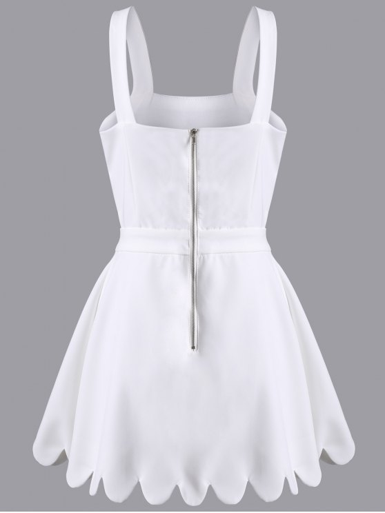 Cut Out Scalloped A-Line Dress - WHITE 2XL Mobile