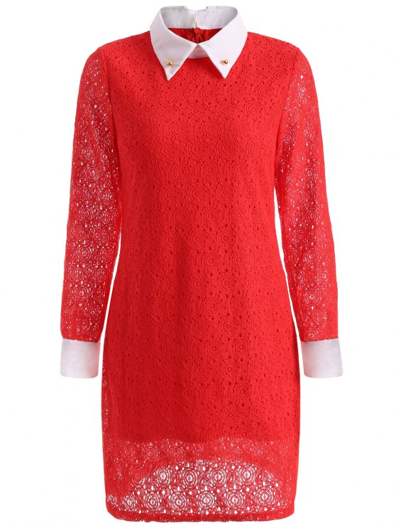 Beaded Flat Collar Spliced Lace Dress - RED M Mobile