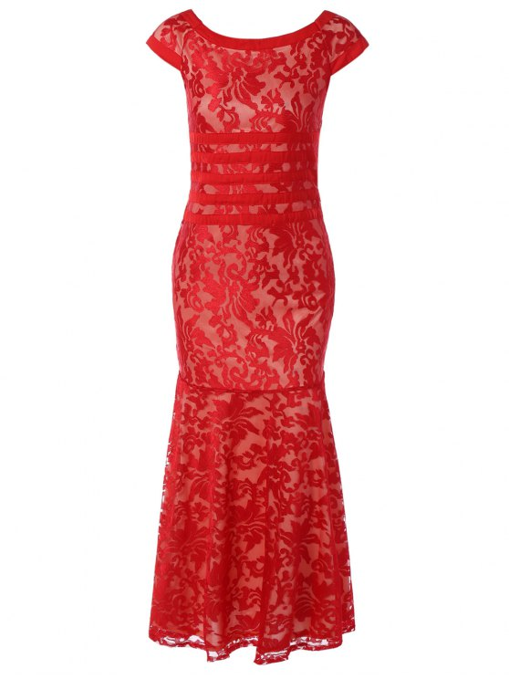 affordable Maxi Lace Bodycon Dress - RED M