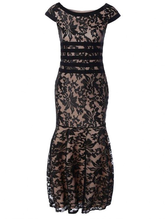 Encaje Maxi vestido de fiesta - Negro L