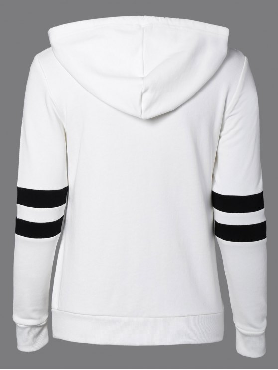 Sports Color Block Hoodie - WHITE L Mobile