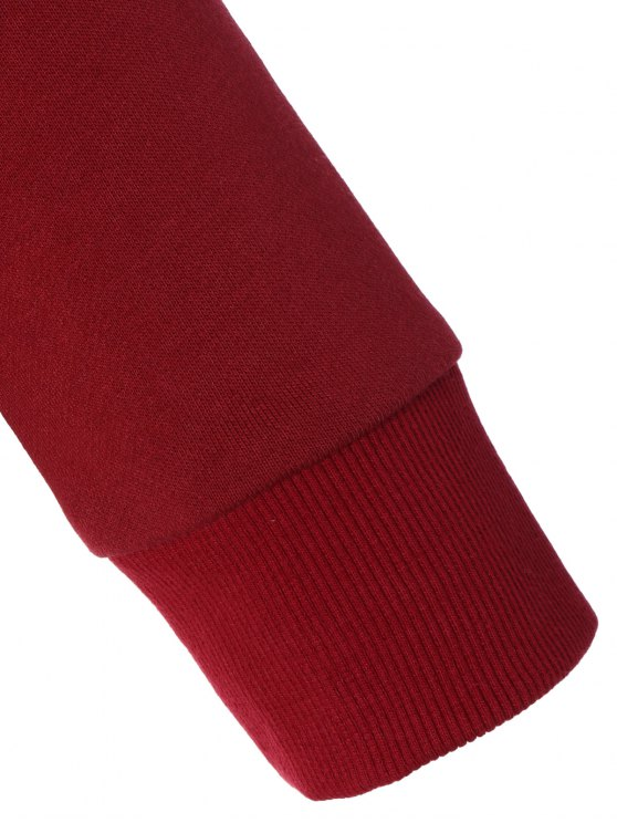 Sports Color Block Hoodie - RED M Mobile