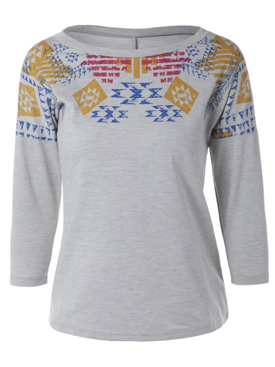 Loose Geometric Print Sweatshirt - GRAY XS Mobile