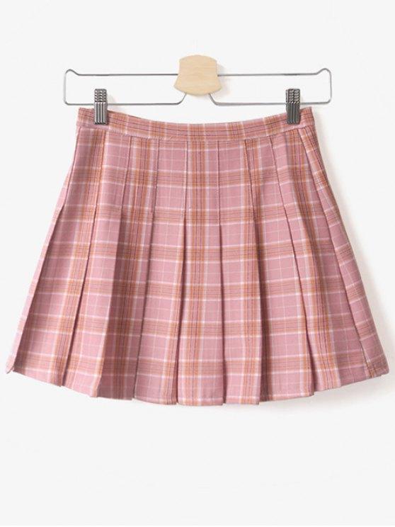 online Pleated Tartan Mini Skirt - PINK L