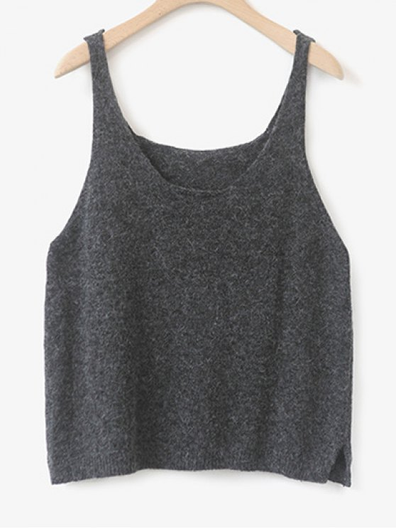 Side Furcal Knitted Vest - DEEP GRAY ONE SIZE Mobile