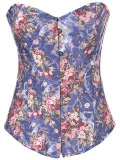 Denim Floral  Back Lace Up Corset - Denim Blue S