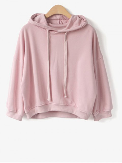 affordable Drawstring Hoodie - PINK ONE SIZE Mobile
