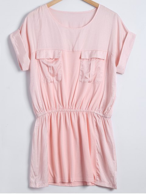 hot Cap Sleeves Elastic Waist Babydoll - SHALLOW PINK ONE SIZE Mobile