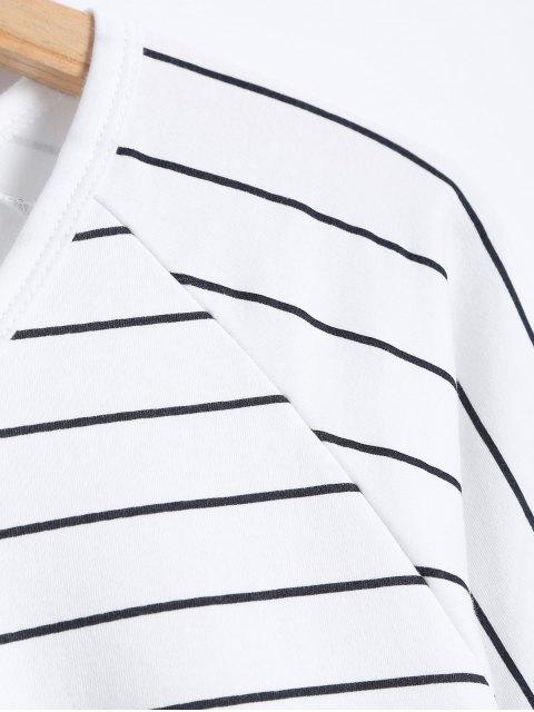 new Casual Stripe Cotton Sleepwear Sets - WHITE M Mobile