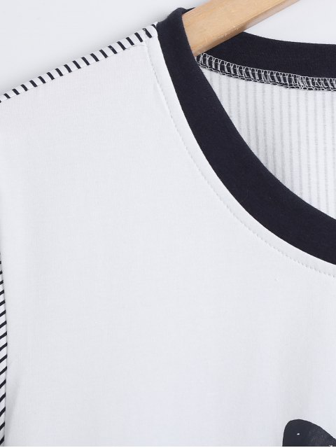 womens Striped Bunny Print High Low Sleepwear Sets - WHITE L Mobile