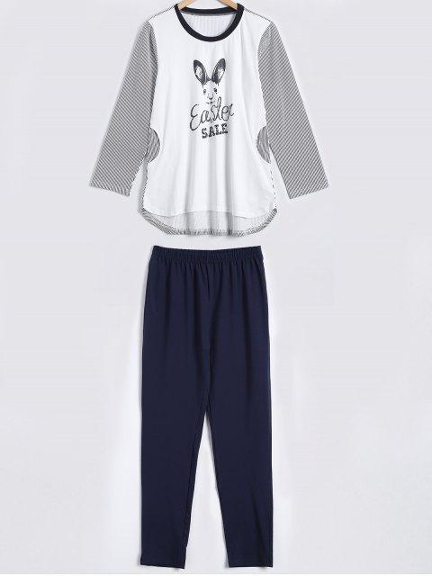 women Striped Bunny Print High Low Sleepwear Sets - WHITE M Mobile