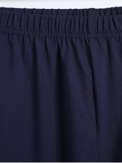 lady Striped Letter Print High Low Pajama Set - WHITE M Mobile