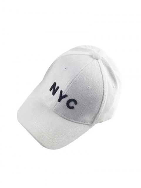 buy Autumn NYC Embroidery Corduroy Baseball Hat - WHITE  Mobile
