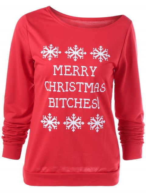 trendy Merry Christmas Snowflake Print Sweatshirt - RED XL Mobile