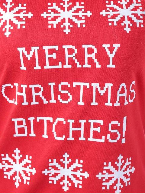chic Merry Christmas Snowflake Print Sweatshirt - RED M Mobile