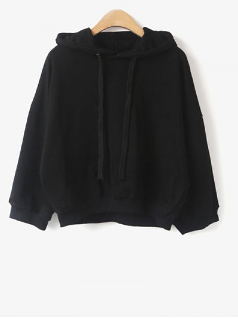 fancy Drawstring Hoodie - BLACK ONE SIZE Mobile