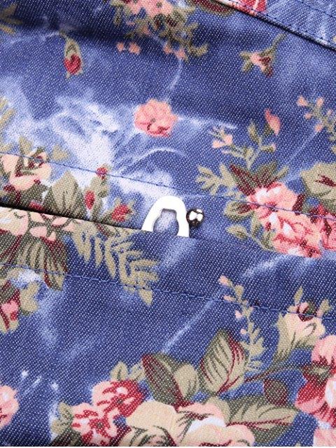 womens Denim Floral  Back Lace Up Corset - DENIM BLUE M Mobile