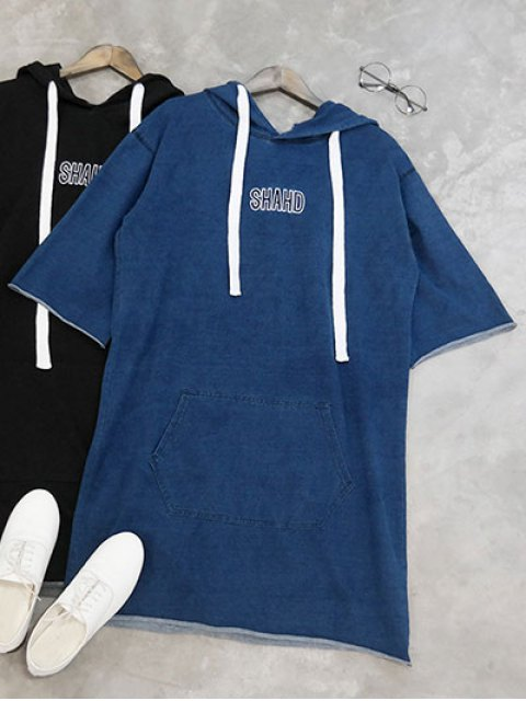women Shahd Embroidered Pullover Hoodie Dress - BLUE ONE SIZE Mobile