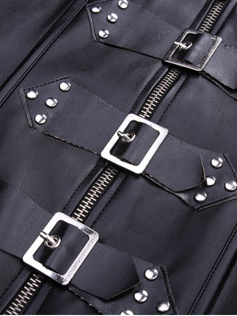 fashion Artificial Leather Halter Cupless Corset - BLACK XL Mobile