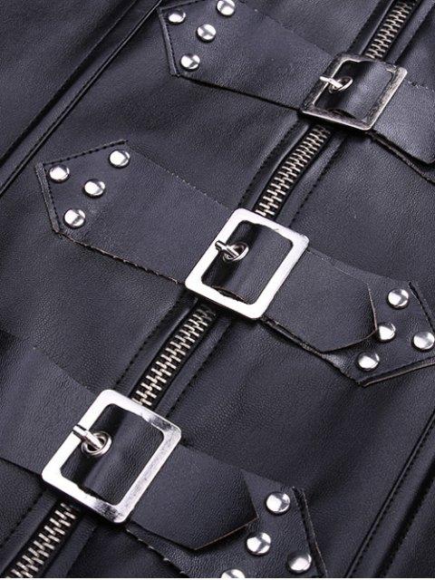 unique Artificial Leather Halter Cupless Corset - BLACK S Mobile