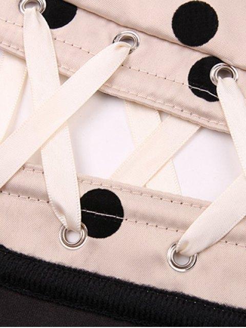 unique Lace Up Polka Dot  Corset - APRICOT XL Mobile