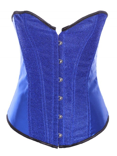 best Lace Up Sequins Embellished Corset - SAPPHIRE BLUE M Mobile
