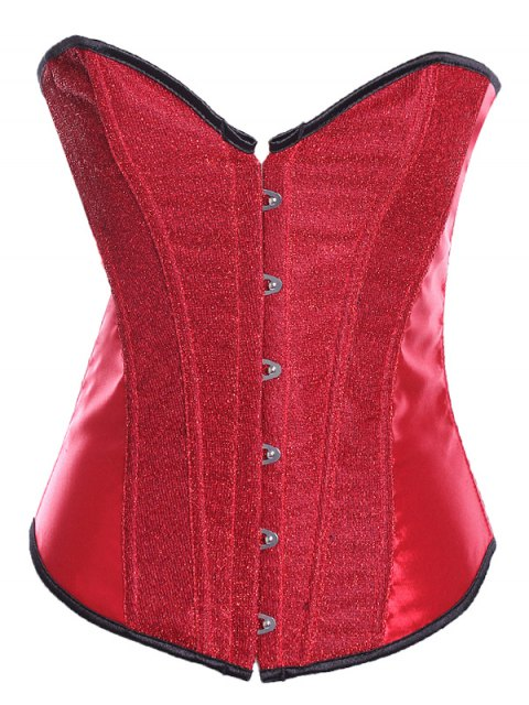 shop Lace Up Sequins Embellished Corset - RED S Mobile