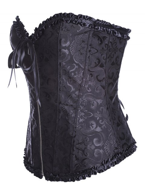 outfits Retro Zipped Lace Up Corset - BLACK 4XL Mobile