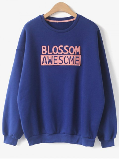 outfits Blossom Awesome Patch Crew Neck Sweatshirt - BLUE ONE SIZE Mobile