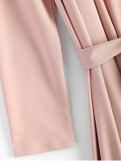 women Belted Shawl Collar Trench Coat - PINK S Mobile