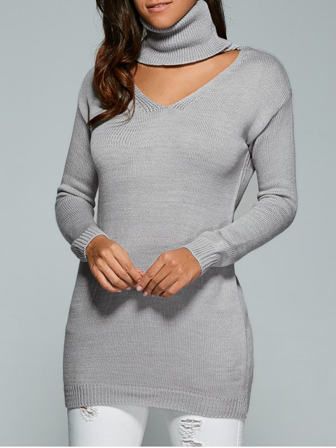 Turtleneck palangre Pull - Gris TAILLE MOYENNE Mobile
